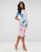 ASOS Wiggle Dress In Pink Floral Print