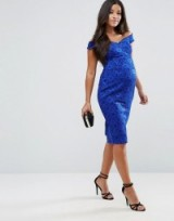 ASOS Maternity Lace Sweetheart Bardot Midi Bodycon Dress ~ pregnancy occasion dresses ~ cobalt-blue off the shoulder