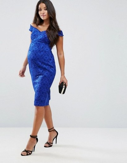 ASOS Maternity Lace Sweetheart Bardot Midi Bodycon Dress ~ pregnancy occasion dresses ~ cobalt-blue off the shoulder - flipped