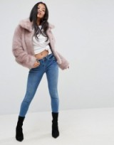 ASOS PETITE Chubby Vintage Coat in Faux Fur ~ pink coats