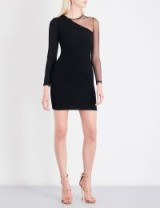 BALMAIN Asymmetric sheer-panel knitted dress