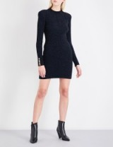 BALMAIN High-neck metallic knitted dress – lbd