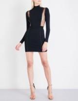 BALMAIN Stud-detail sheer-panel knitted dress
