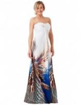 GODDIVA Bandeau Printed Maxi Dress – Peacock