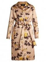 ROCHAS Belted rose-print satin coat ~ floral statement coats