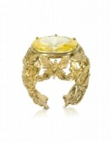 BERNARD DELETTREZ Bronze Dome Ring w/Butterflies and Yellow Cubic Zirconia – bling statement rings