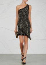 BALMAIN Black embellished velvet mini dress
