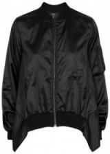 CLU Black flared satin bomber jacket