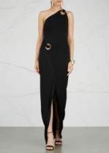 BALMAIN Black one-shoulder stretch-knit gown