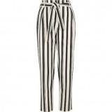 River Island Black stripe tie waist tapered trousers   striped pants