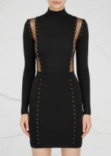 BALMAIN Black studded stretch knit mini dress