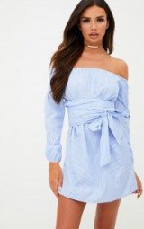 pretty little thing BLUE PINSTRIPE BARDOT TIE WAIST SHIFT DRESS – off the shoulder dresses – summer fashion
