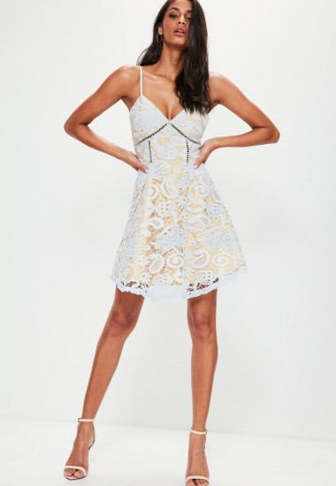 cb679ec9c143 missguided blue strappy lace skater dress ~ strappy fit and flare ...