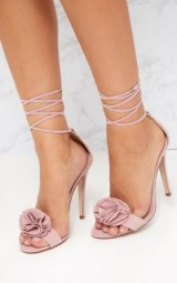 PRETTYLITTLETHING BLUSH RUFFLE DETAIL LACE UP HEELS ~ strappy pink party shoes ~ pretty little thing