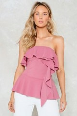 Nasty Gal Boogie Oogie Strapless Top – pink ruffle tops