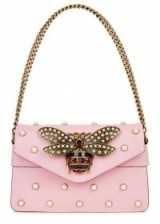 GUCCI Broadway pink embellished leather clutch | luxe bags