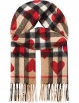 BURBERRY Heart check cashmere scarf