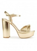 MISS SELFRIDGE CAMERON Knot Platform Sandals ~ gold metallic platforms