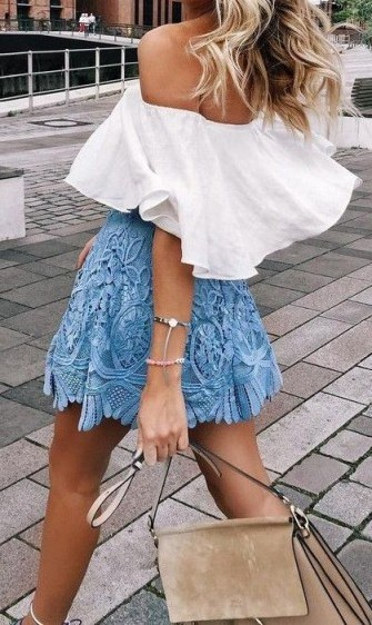 Perfect summer street style…white ruffle off the shoulder top, blue lace mini skirt and a beige Chloe Faye leather and suede handbag. Find a great selection of gorgeous Chloe bags at selfridges.com. Outfits | outfit inspiration - flipped