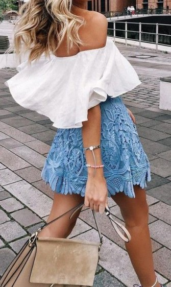 Perfect summer street style…white ruffle off the shoulder top, blue lace mini skirt and a beige Chloe Faye leather and suede handbag. Find a great selection of gorgeous Chloe bags at selfridges.com. Outfits | outfit inspiration