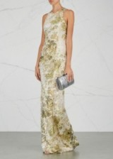 GALVAN Chartreuse and white sequinned gown