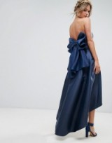 Chi Chi London Bandeau Midi Dress with Exaggerated Bow Back ~ navy-blue satin style occasion dresses