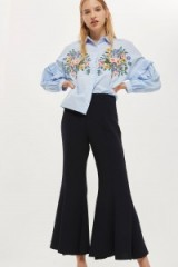 Topshop Clean Panel Cropped Flare Trousers