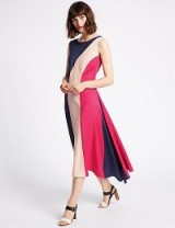 M&S LIMITED EDITION Colour Block Splice Midi Dress / sleeveless pink dresses / Marks and Spencer