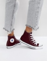 Converse Chuck Taylor All Star Hi Top Trainers In Burgundy | dark red sneakers | casual flats | flat weekend shoes