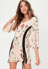 MISSGUIDED cream lace up kimono sleeve dress