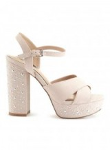 MISS SELFRIDGE CROWN Stud Platform Sandals ~ nude block heel platforms