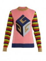 GUCCI Cube-intarsia striped wool-blend knit sweater ~ statement sweaters ~ luxe knitwear