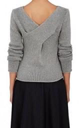 DEREK LAM 10 CROSBY Twist-Back Wool-Cashmere Sweater | grey luxe style sweaters | knitwear