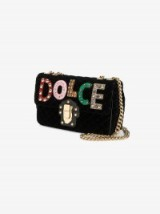 Dolce & Gabbana Lucia Studded Quilted Shoulder Bag – black velvet bags
