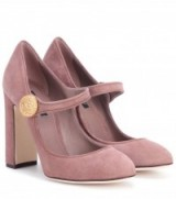 DOLCE & GABBANA Mary-Jane suede pumps ~ lilac shoes