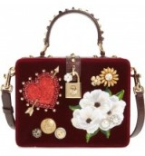 Dolce & Gabbana Heart Floral Embellished Velvet Box Bag