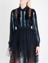 ELIE SAAB Striped velvet, chiffon and floral-lace shirt ~ semi sheer shirts