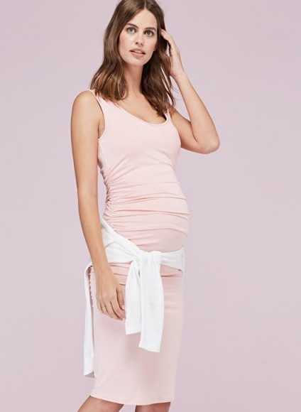 Isabella Oliver ELLIS MATERNITY TANK DRESS ~ casual pregnancy style ~ light pink day dresses - flipped