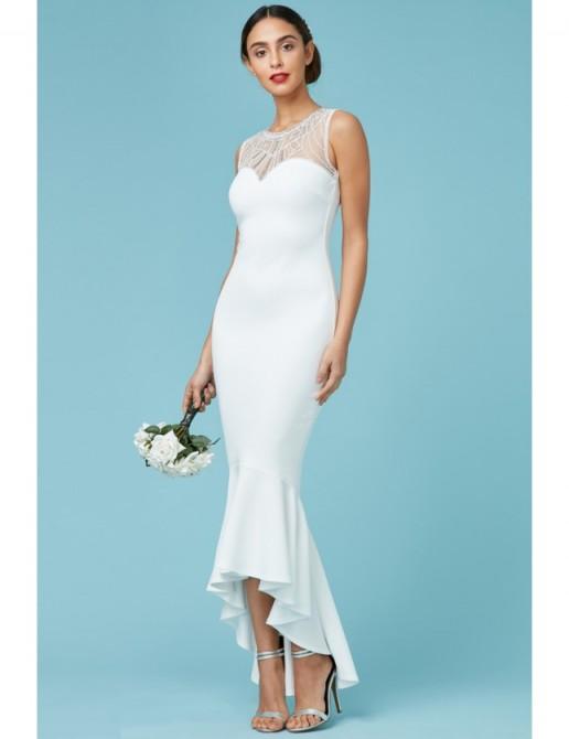 GODDIVA Embellished Fishtail Maxi Wedding Dress White – affordable bridal dresses