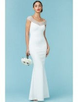 GODDIVA Embellished Neckline Maxi Wedding Dress White – elegant bridal dresses