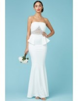 GODDIVA Embellished Peplum Maxi Wedding Dress White – strapless bridal dresses – occasion gowns