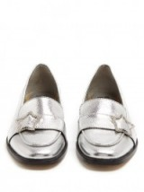 ALEXACHUNG Embellished-star faux-leather loafers | silver metallic flats