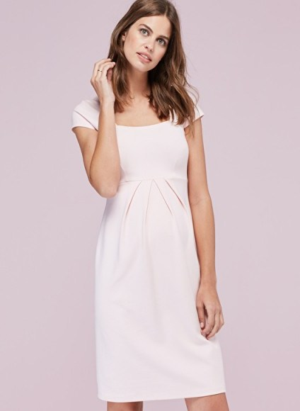 Isabella Oliver FARAH MATERNITY SHIFT DRESS ~ blush-pink pregnancy dresses - flipped
