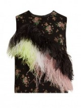 MSGM Feather-embellished floral-print crepe top