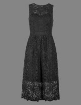 AUTOGRAPH Floral Lace Midi Dress / black sleeveless dresses / M&S / Marks and Spencer fashion