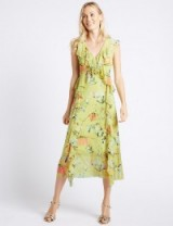 M&S COLLECTION Floral Print Mesh Swing Midi Dress / green dresses / Marks and Spencer