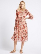 M&S COLLECTION Floral Print Tiered 3/4 Sleeve Midi Dress / Marks and Spencer dresses