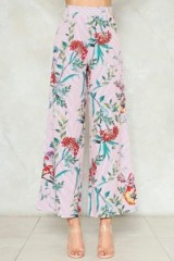 Nasty Gal Flower of the Flock Wide-Leg Pants ~ pink floral trousers