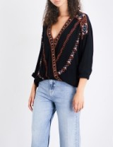 FREE PEOPLE Crescent Moon embroidered gauze top