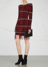 BALMAIN Fringed tweed mini dress